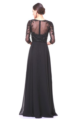 A-Line Floor-Length Bateau Half Sleeve Chiffon Illusion Dress With Beading