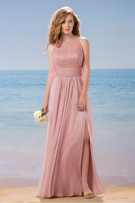 High-Neck A-Line Gown With Front Slit And Keyhole Back