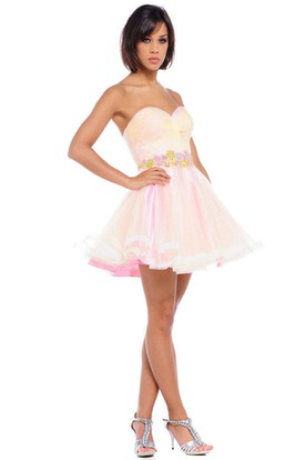 Sweetheart Short Jeweled Tulle Prom Dress With Criss Cross And V Back