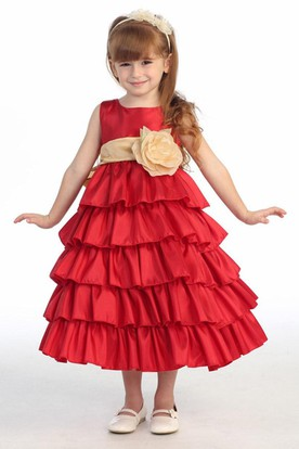 Ankle-Length Tiered Taffeta Flower Girl Dress