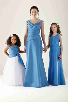 Ruched V-Neck Sleeveless Satin Bridesmaid Dress With Beading