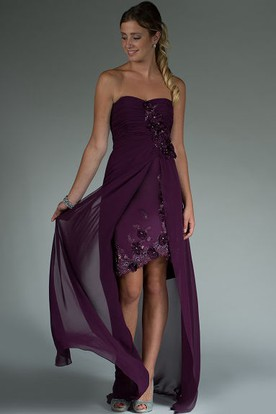 Sweetheart Sheath Floral Asymmetric Mother Of The Bride Dress With Chiffon Wrap And Crystal Details