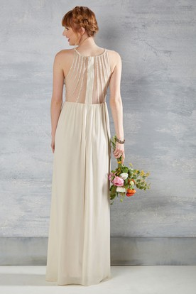 Scoop-Neck Pleated Sleeveless Chiffon Wedding Dress With Beading And Illusion