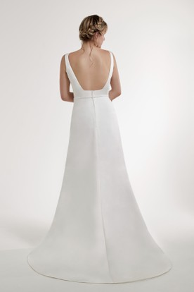 Sheath Jeweled Jewel Floor-Length Sleeveless Satin Wedding Dress With Backless Style And Sweep Train