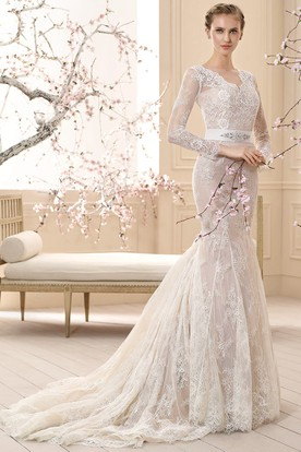 Sheath V-Neck Floor-Length Long-Sleeve Appliqued Lace Wedding Dress With Waist Jewellery And Bow