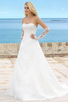 Long Strapless Beaded Chiffon Wedding Dress With Ruching