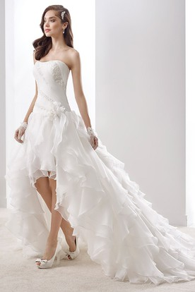 Simple Strapless A-Line Pleated Gown With Brush Train