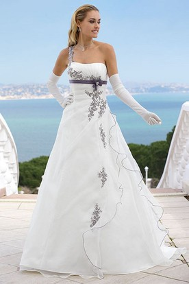 Long One-Shoulder Appliqued Satin Wedding Dress With Side Draping