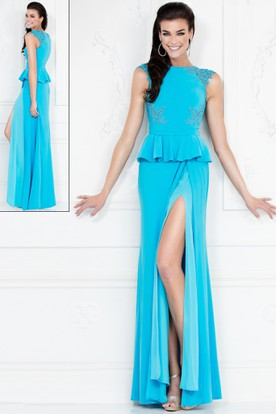 Sheath Jewel-Neck Cap-Sleeve Jersey Dress With Split Front And Peplum