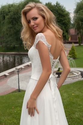 Sheath Long Pleated Bateau-Neck Chiffon Wedding Dress With Lace And Corset Back
