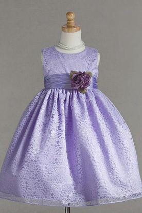 Tea-Length Floral Bowed Lace Flower Girl Dress