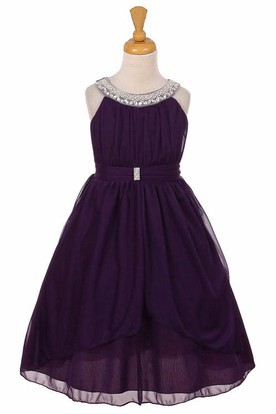 Tea-Length Peplum Tiered Pleated Chiffon&Tulle Flower Girl Dress With Ribbon