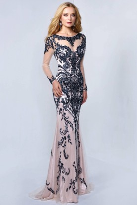Sheath Scoop-Neck Illusion Long Sleeve Deep-V Back Dress With Beading