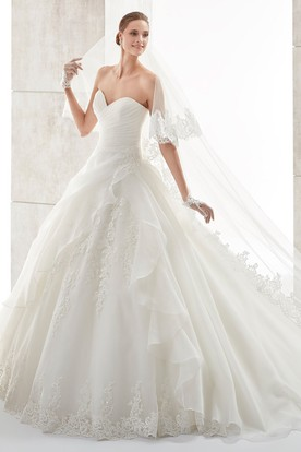 Sweetheart A-line Wedding Gown with Side Ruffles and Pleated Bodice