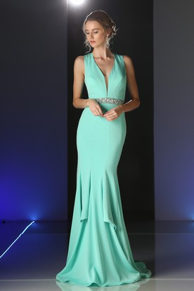 Sheath Long V-Neck Sleeveless Jersey Keyhole Dress With Waist Jewellery