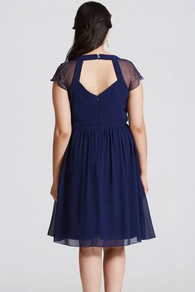 Mini Cap Sleeve V-Neck Ruched Chiffon Bridesmaid Dress With Sequins And Keyhole