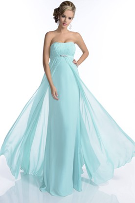 Empire Strapless A-Line Chiffon Bridesmaid Dress With Pleated Bust
