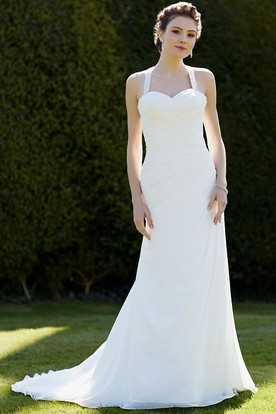 Halter Floor-Length Criss-Cross Chiffon Wedding Dress With Court Train And Keyhole