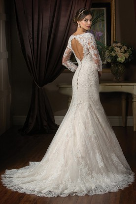3-4 Sleeved Mermaid Wedding Dress With Illusion Appliqued Style And Keyhole Back