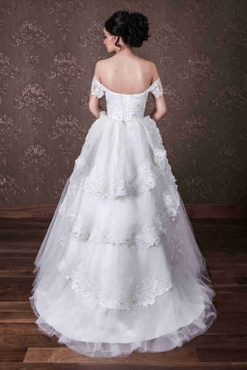 Ball Gown Tiered Off-The-Shoulder Tulle&Lace Wedding Dress With Lace Up