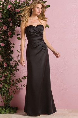 Sweetheart Floor-Length Satin Bridesmaid Dress With Ruches