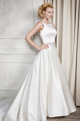 A-Line Long Bateau Jeweled Sleeveless Satin Couture Wedding Dress With Deep-V Back