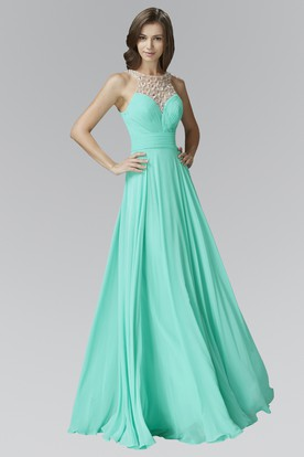 A-Line Scoop-Neck Sleeveless Chiffon Deep-V Back Dress With Beading And Pleats