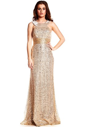 Beaded Scoop Neck Sleeveless Sequin Prom Dress With Brush Train
