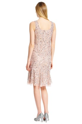 Short Pleated Square Neck Sleeveless Sequin Bridesmaid Dress