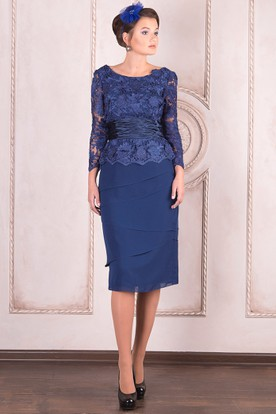 Pencil Knee-Length Appliqued Long Sleeve Scoop Neck Lace Mother Of The Bride Dress