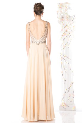 A-Line Long Bateau Sleeveless Chiffon Deep-V Back Dress With Split Front And Beading
