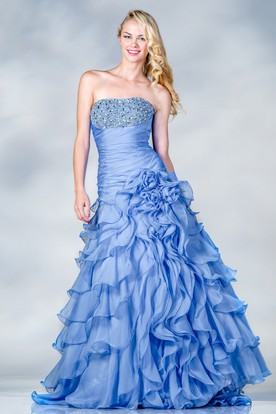 Ball Gown Strapless Sleeveless Organza Dress With Beading And Flower