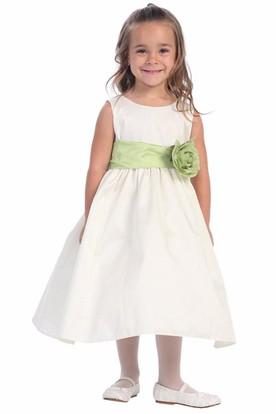 Tea-Length Tiered Flower Girl Dress