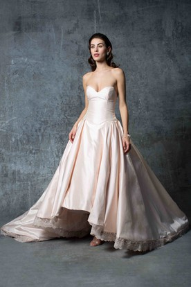 A-Line High-Low Sweetheart Satin Wedding Dress With Appliques And V Back