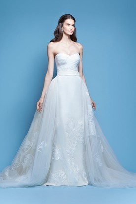 Barneys Tail Dress Embroidered Strapless Tulle Satin Wedding