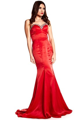 Trumpet Beaded Sweetheart Long Sleeveless Satin Prom Dress With Backless Style And Brush Train