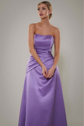 Ruched Strapless Satin Bridesmaid Dress