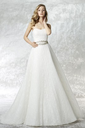 Floor-Length A-Line Jeweled Strapless Lace Wedding Dress With Brush Train