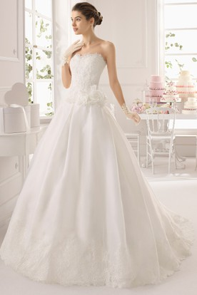Ball Gown Long Sweetheart Satin Wedding Dress With Flower And Deep-V Back