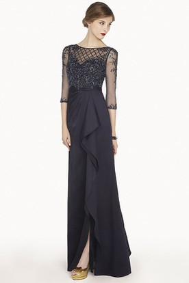 Sheath Scoop-Neck Appliqued Half-Sleeve Floor-Length Chiffon Prom Dress With Split Front And Draping