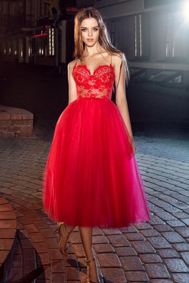 A-Line Tea-Length Spaghetti Sleeveless Tulle Lace Dress With Appliques