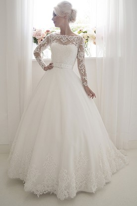 A-Line Long-Sleeve Floor-Length Bateau-Neck Lace Wedding Dress With Appliques And V Back