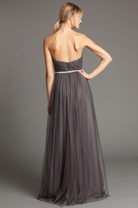 A-Line Sleeveless Maxi Sweetheart Ruched Tulle Bridesmaid Dress