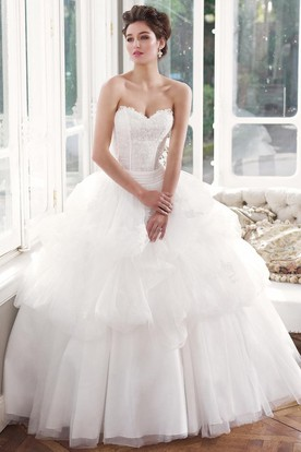 Ball Gown Sweetheart Pick-Up Long Tulle Wedding Dress With Lace And Tiers