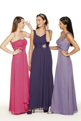 Sleeveless Ruched Chiffon Bridesmaid Dress With Beading And Low-V Back