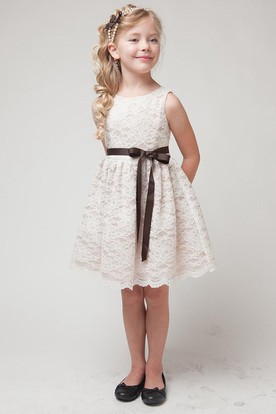 Split Midi Tiered Lace Flower Girl Dress