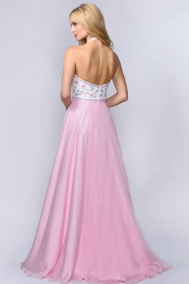 A-Line Maxi Halter Sleeveless Backless Dress With Appliques And Flower