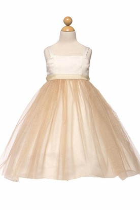 Tea-Length Spaghetti Empire Tiered Tulle&Satin Flower Girl Dress