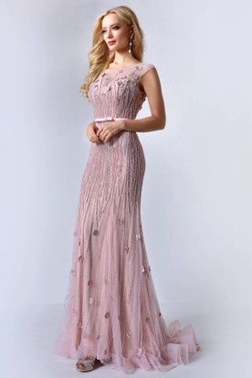 Sheath Scoop-Neck Cap-Sleeve Tulle Illusion Dress With Sequins And Flower