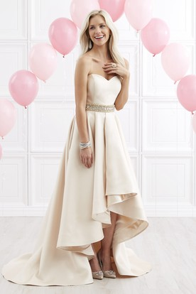 A-Line High-Low Sweetheart Satin Zipper Dress With Waist Jewellery And Draping